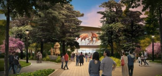 A mock-up image of the entry plaza to Warner Bros. Studio Tour Tokyo. It shows visitors entering the attraction through a landscaped garden area.