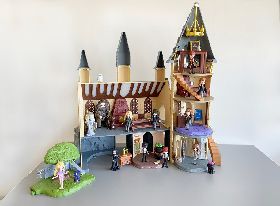 Hogwarts Castle playset populated by mini character figures