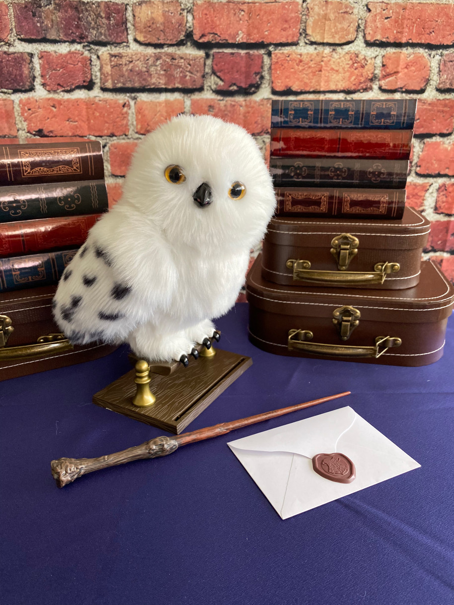 Hedwig plush toy on perch with wand and Hogwarts letter