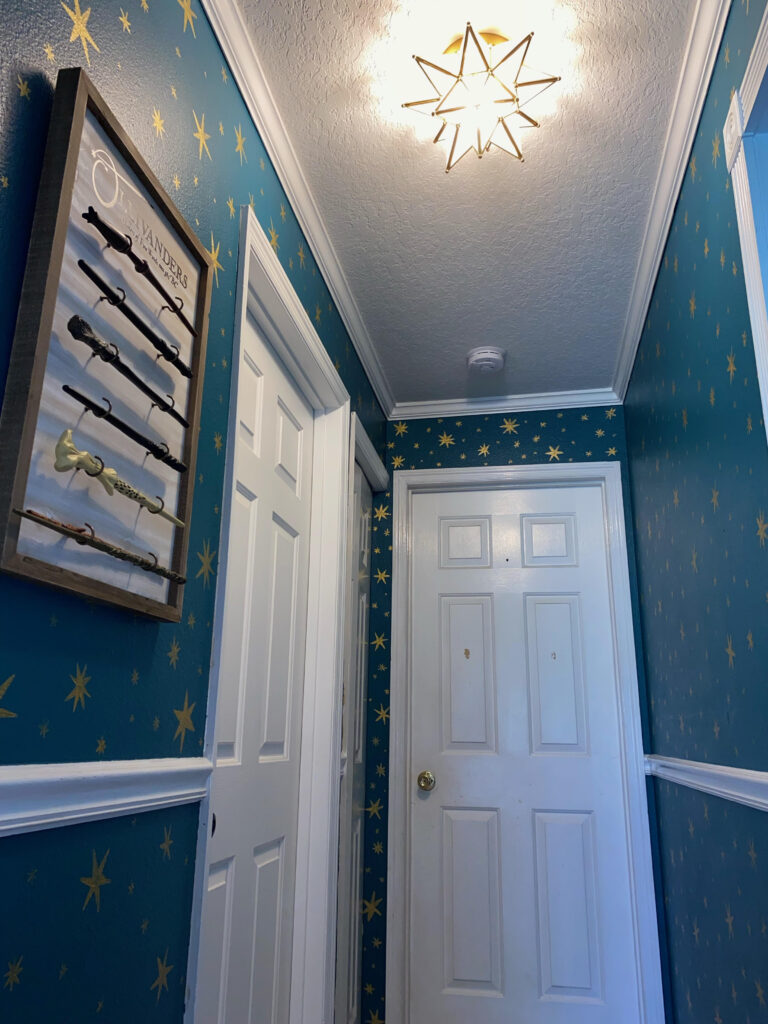 A Harry Potter fan stands in her hallway, which she covered in magical hand-painted stars