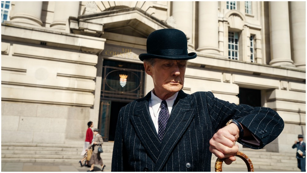 """First look at Bill Nighy in his costume for upcoming drama """"Living""""."""