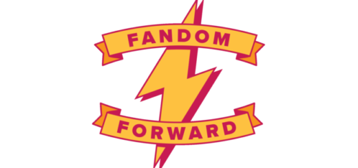 """The logo for Fandom Forward features a yellow lightning bolt with a dark red shadow. Toward the top of it is the word """"fandom"""" in capital letters on a banner; the word """"forward"""" appears on a similar banner toward the bottom of the lightning bolt."""