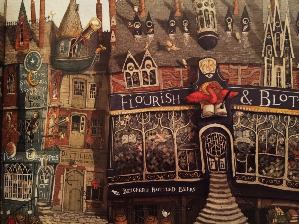 This illustration of Flourish and Blotts is in Jim Kay's illustrated version of Sorcerer's Stone