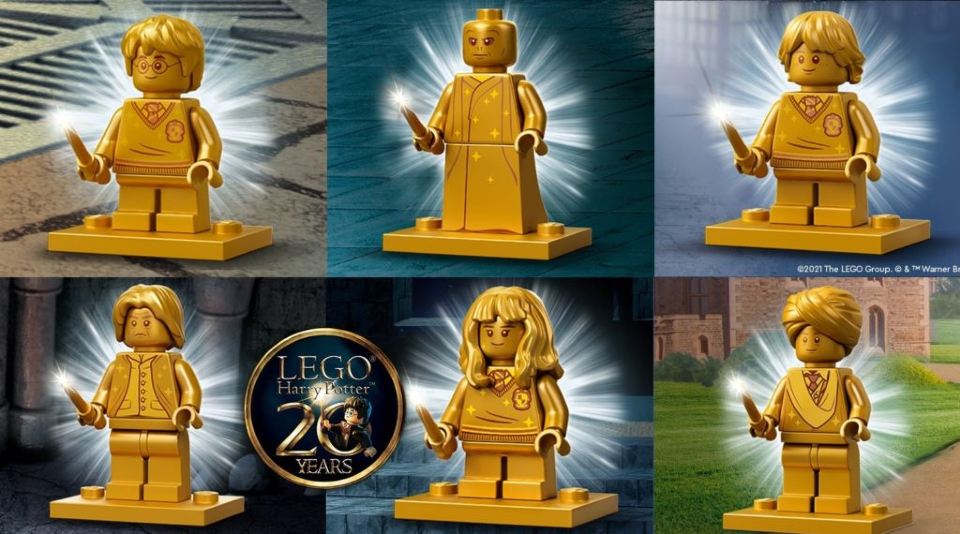 """Six golden Minifigures from LEGO """"Harry Potter""""."""