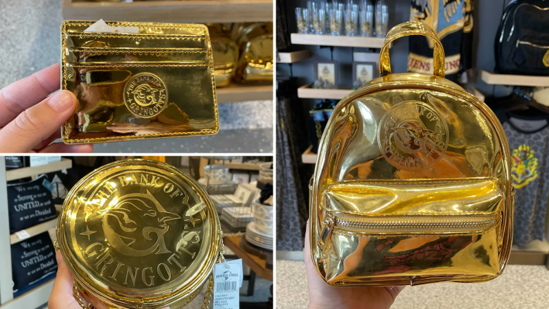 A Gringotts cardholder, crossbody bag, and backpack are pictured as photographed by WDW News Today at Universal Orlando Resort. Each is a shiny gold color.