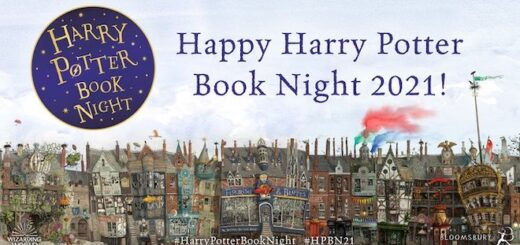 """A featured image of a """"save the date"""" banner for Harry Potter Book Night 2021 is shown."""