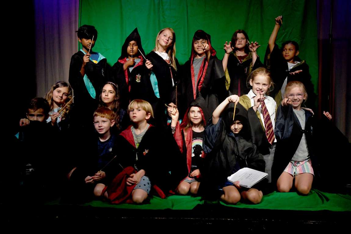 """Students at All Saint's Episcopal School taking part in a """"Harry Potter""""-themed camp."""