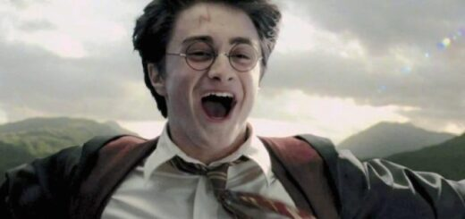 """Harry Potter rides on Buckbeak and shouts in excitement in """"Harry Potter and the Prisoner of Azkaban""""."""