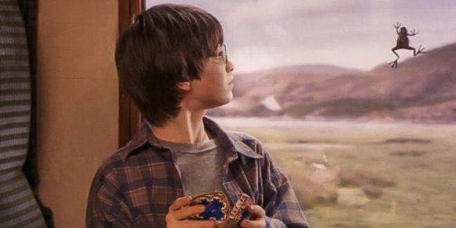 Harry Potter's Chocolate Frog escaping through the window of the Hogwarts Express