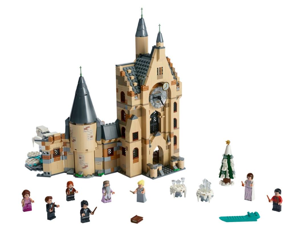 """Set up for LEGO """"Harry Potter"""" Hogwarts Clock Tower 75948."""