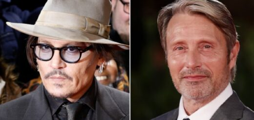Left: a close up of Johnny Depp on the red carpet, in a cool hat and sunglasses. Right: a close up of Mads Mikkelsen lookin smiley and confident, also probably on the red carpet.