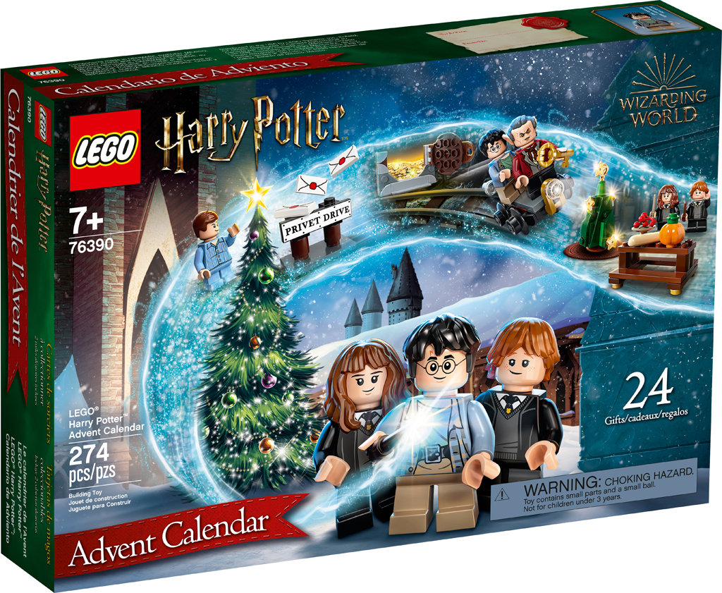 The box for LEGO Harry Potter 2021 Advent Calendar shows minifigures of Harry, Ron, and Hermione standing in front of a Christmas tree.