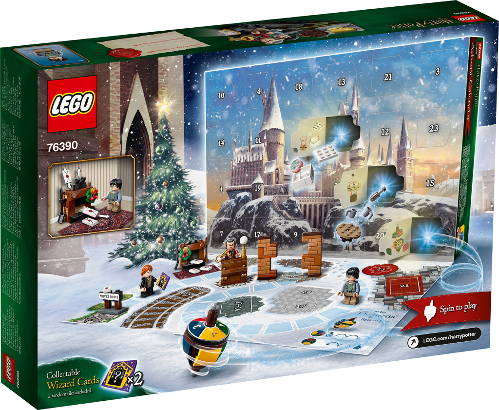 Some of the items included in the LEGO Harry Potter 2021 Advent Calendar are pictured, including a colourful spinning top used for playing the board game printed on the box.