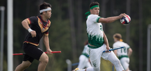Two Muggle quidditch players, one from the Rochester Whiteout and one from the New York Titans, are pictured as photographed by Miguel Esparza.
