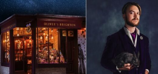 Left: the facade of a cool Harry Potter shop front, Right: Oliver Dall pictured in elegant wizard clothes and with a rabbit.