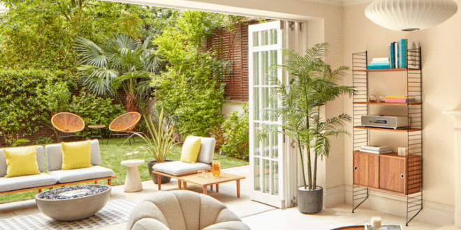 One of the living areas backing onto the decked garden