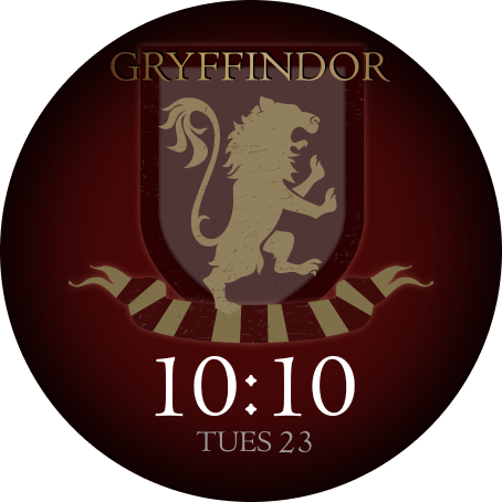 The OnePlus Watch face with a Gryffindor crest design is shown.