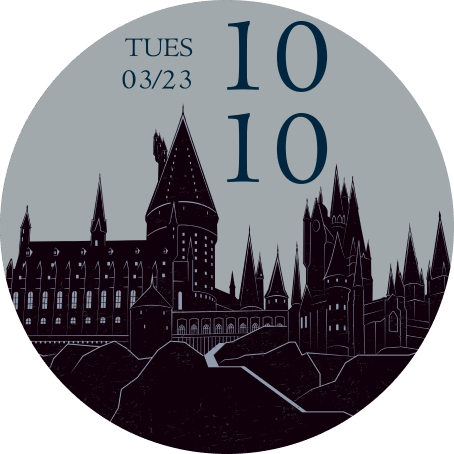 The OnePlus Watch face with a Hogwarts Castle silhouette design is shown.