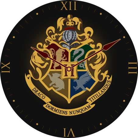 The OnePlus Watch face with a Hogwarts crest design is shown.