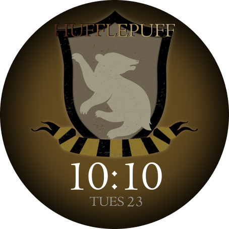 The OnePlus Watch face with a Hufflepuff crest design is shown.