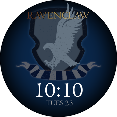 The OnePlus Watch face with a Ravenclaw crest design is shown.