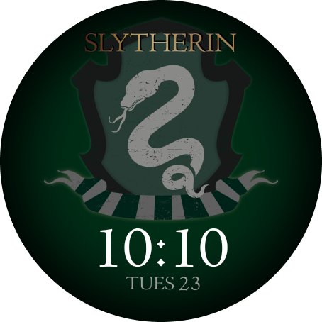 The OnePlus Watch face with a Slytherin crest design is shown.