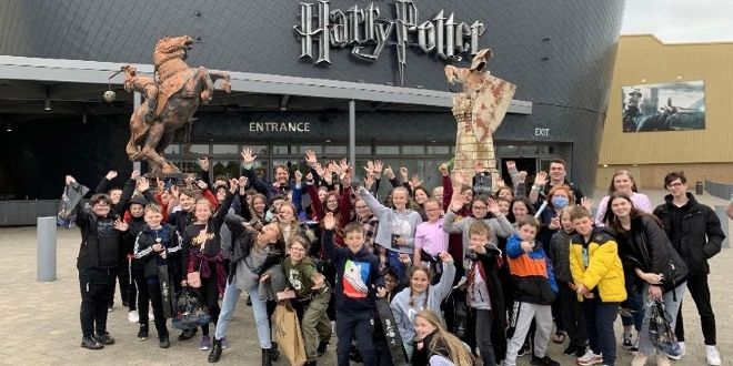 Pupils from Parklee Community School at Warner Bros. Studio Tour London - The Making of Harry Potter