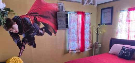 """Decor at the """"Harry Potter""""-themed Airbnb in El Paso, TX."""