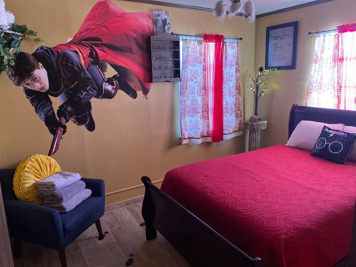 """The huge """"Harry Potter"""" decal in one of the bedrooms is hard to miss."""