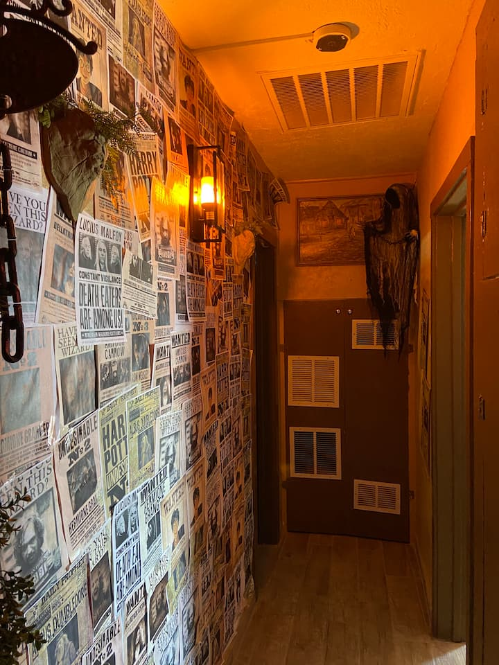 """The hallway at the """"Harry Potter""""-themed Airbnb in El Paso, TX."""