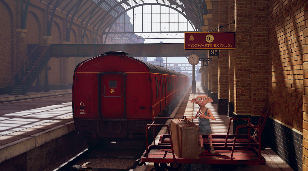 """An image from the """"Chaos at Hogwarts"""" VR experience showing Dobby standing on Platform 9 3/4."""