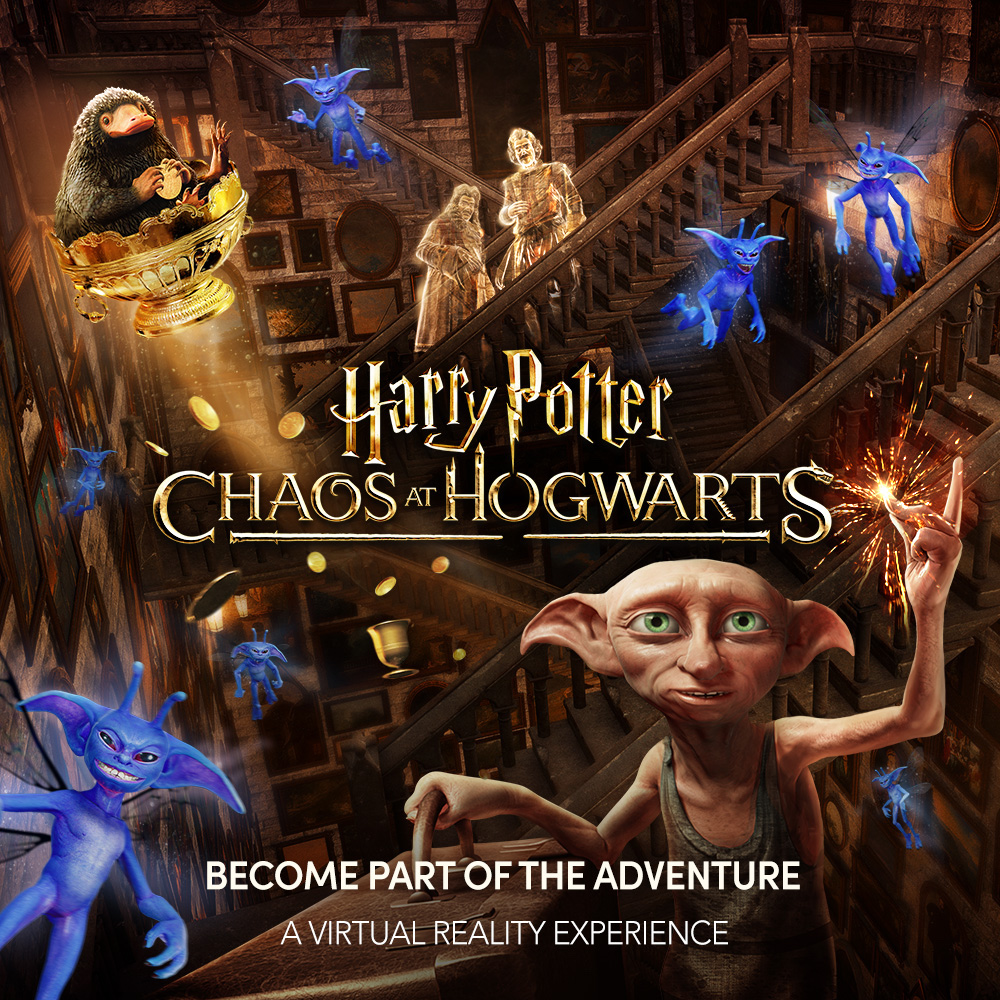 """A promotional image for the """"Chaos at Hogwarts"""" virtual reality experience with Dobby clicking his fingers and magical creatures in the background."""