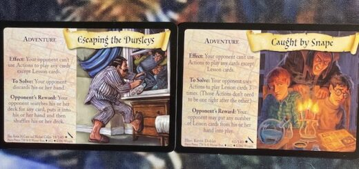 This is a comparison of the Escape the Dursleys and Caught by Snape action cards.