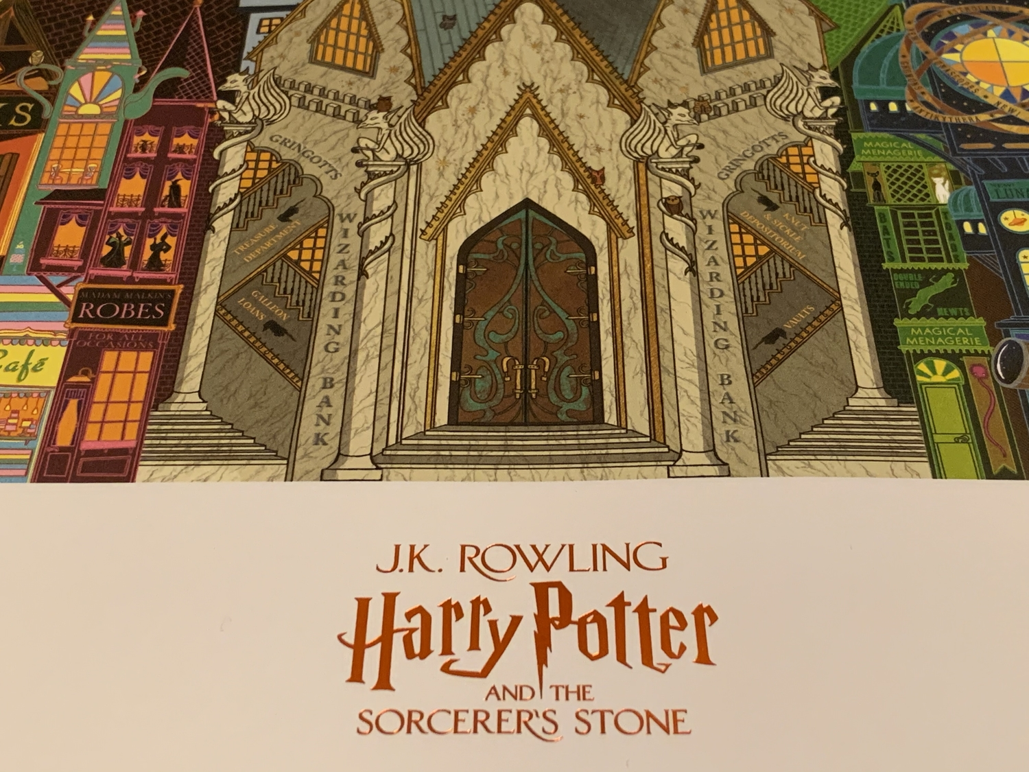 """Close-up of Gringotts on the """"Sorcerer's Stone"""" poster from MinaLima"""