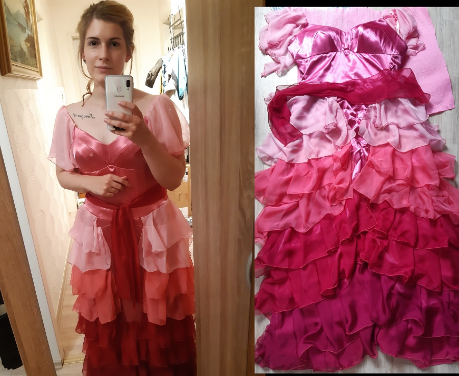Barbara Rieck in Hermione's Yule Ball gown.