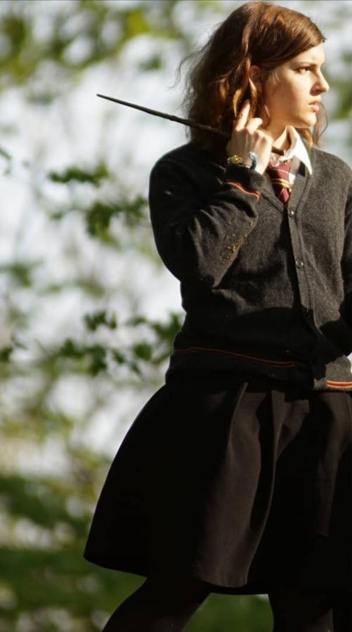 Barbara Rieck as Hermione in her Hogwarts uniform.