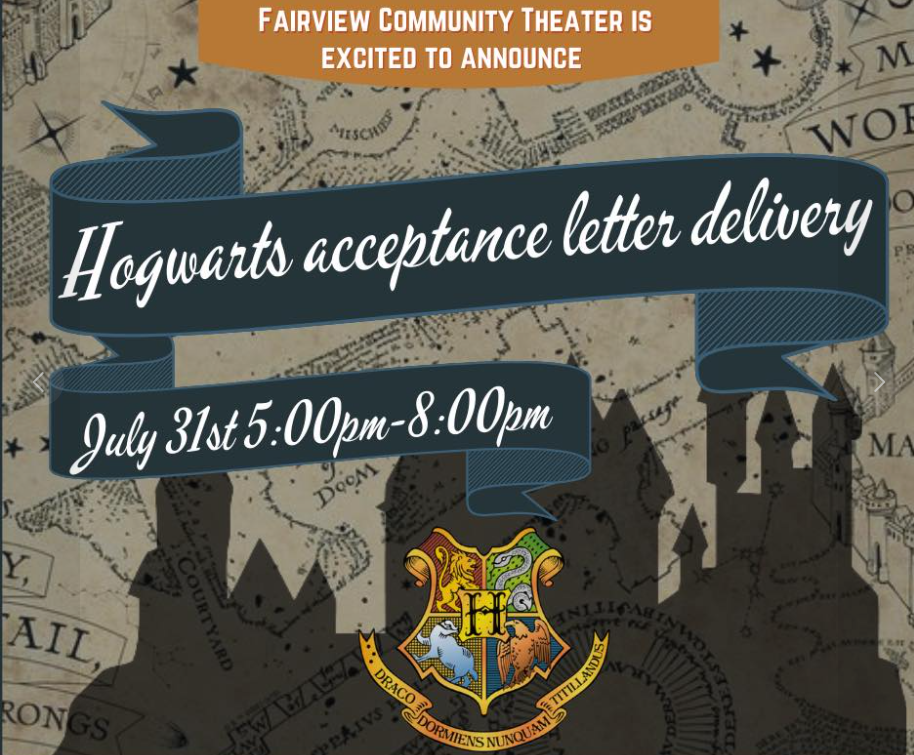 Hogwarts Acceptance Letters will be delivered to kids in the Fairview, TN area.
