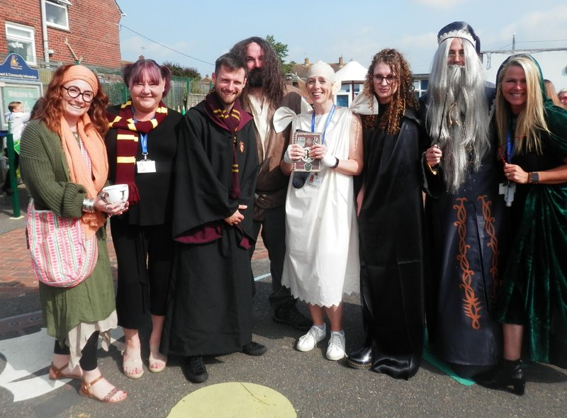 """Teachers at Langney Primary School in costume for its """"Harry Potter"""" Extravaganza."""