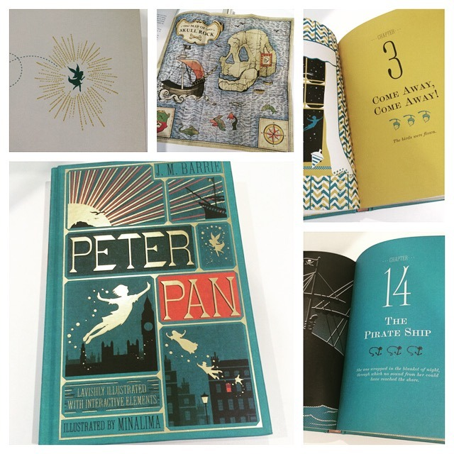 """A collage of images showing """"Peter Pan"""" from the MinaLima Classics Colleciton"""