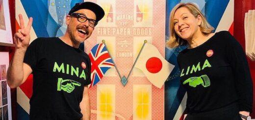 Miraphora Mina and Eduardo Lima posing at The House of MinaLima in Osaka, Japan.