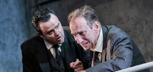 David Thewlis is grappling with tense emotions as Daniel Mays looms over him on stage in The Dumb Waiter.