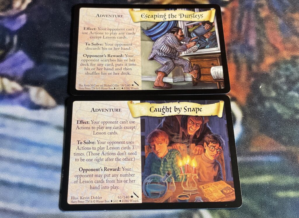 These are the Escaping the Dursleys and Caught by Snape TCG adventure cards.