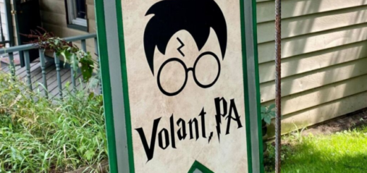 A banner welcoming fans to the Volant Potter Run Fest in Volant, Pennsylvania, is shown as photographed by Monica Pryts of Allied News.