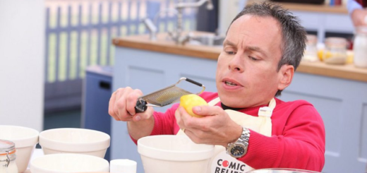 """Warwick Davis is shown zesting a lemon in a 2013 promotional image for """"The Great Comic Relief Bake Off."""""""