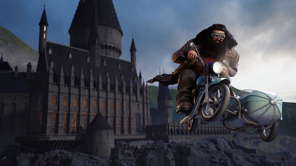 """An image from the """"Wizards Take Flight"""" VR experience showing Hagrid flying away from Hogwarts Castle."""