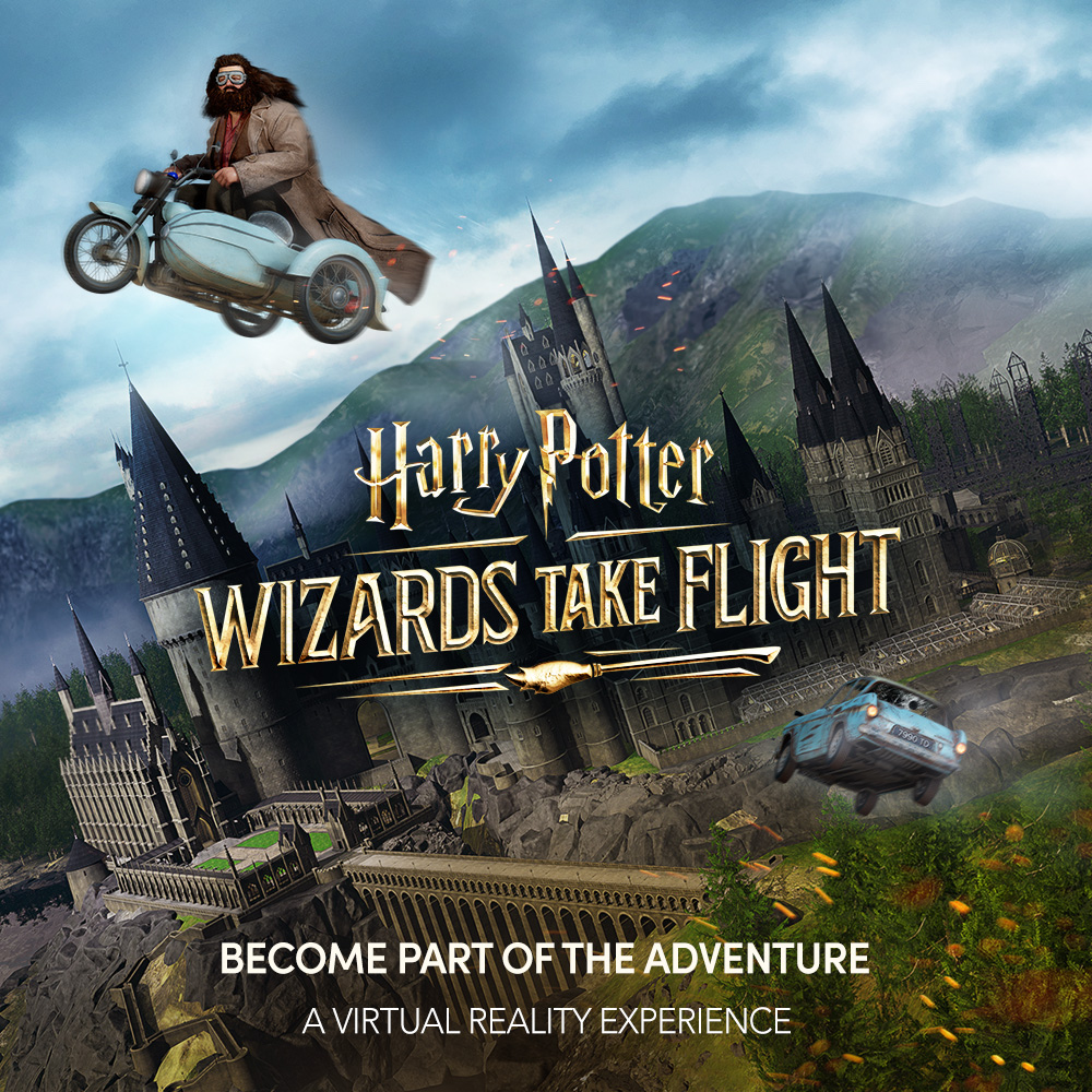 """A promotional image for the """"Wizards Take Flight"""" virtual reality experience with Hagrid flying away from Hogwarts Castle."""