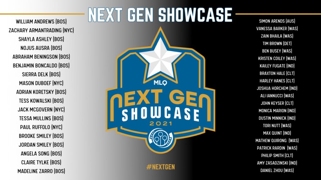 There is a logo of Next Gen Showcase in the middle and rosters of two teams on the left and right.