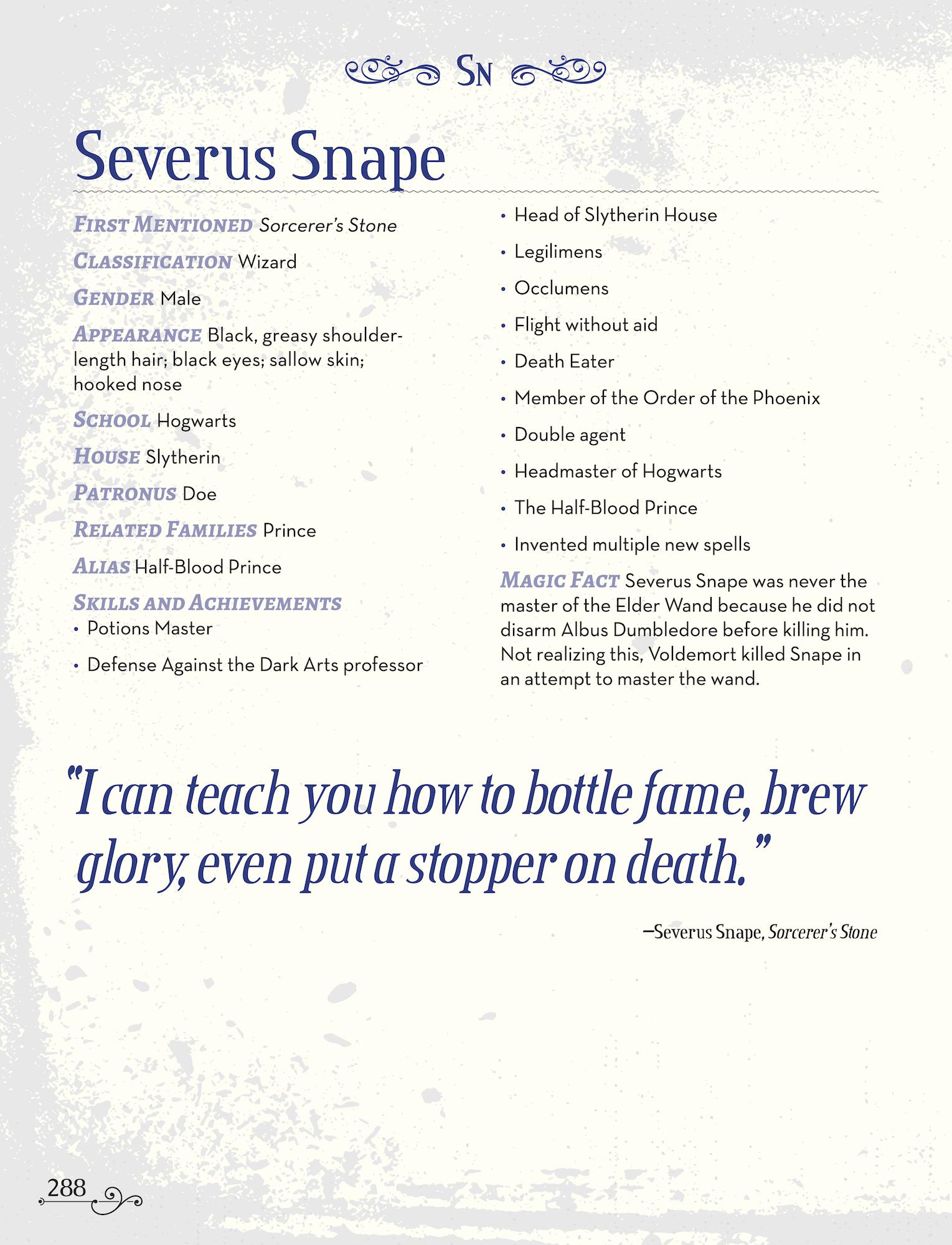 Character Compendium Snape