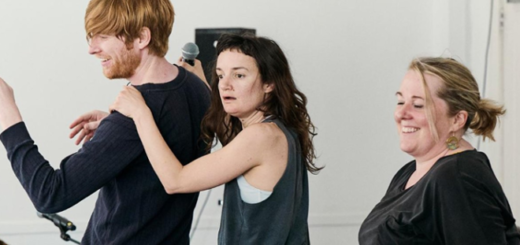 """Domhnall Gleeson (Bill Weasley) is pictured at the left alongside castmates Aoife Duffin (center) and Clare Barrett (right) during a rehearsal for """"Medicine"""" by Enda Walsh, as photographed by Sarah Weal."""
