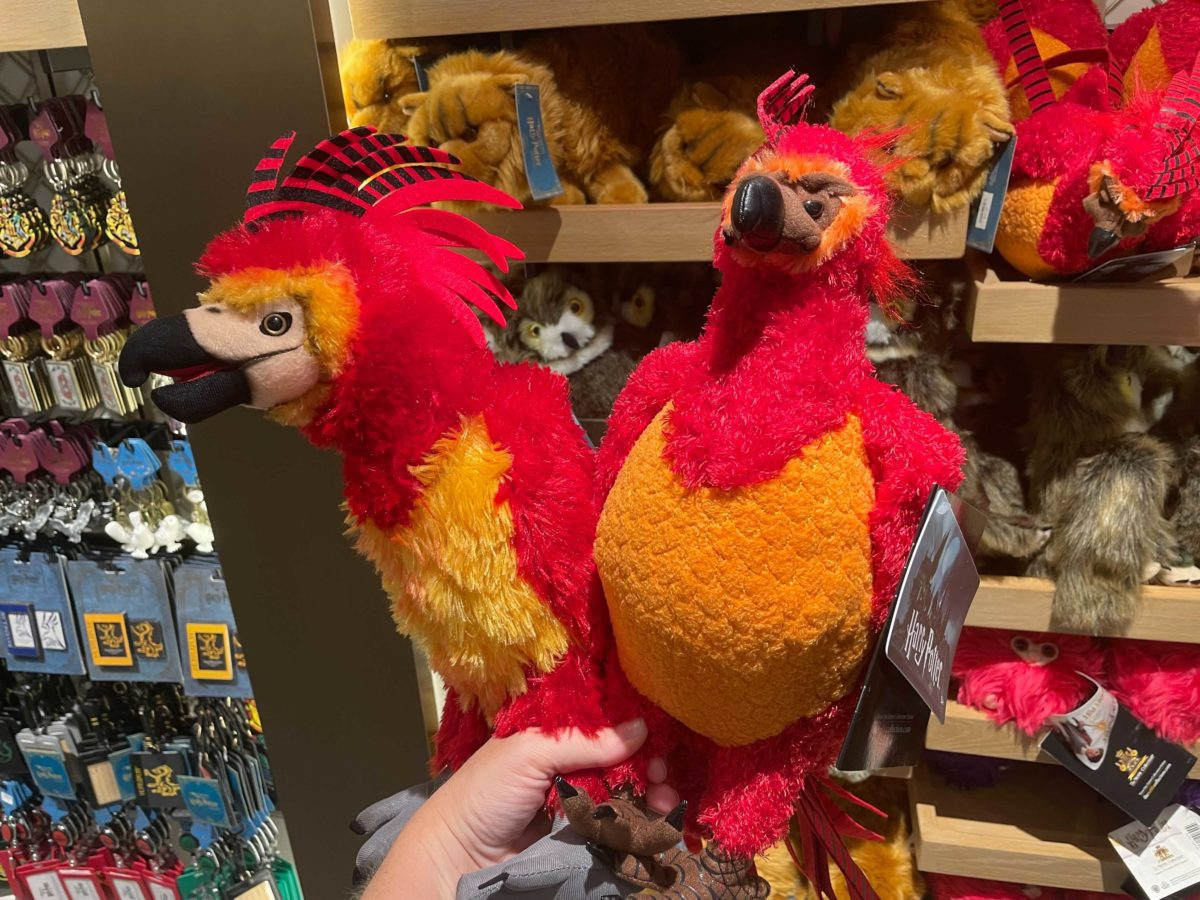 The old Noble Collection Fawkes plush is shown next to the new model.